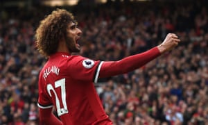Marouane Fellaini celebrates scoring the second goal.