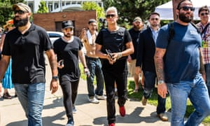 Milo Yiannopoulos arrives at a rally in Cleveland.