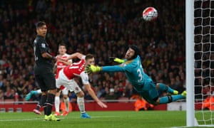Petr Cech denies Philippe Coutinho of Liverpool. The Arsenal goalkeeper has the best save percentage in the top flight.