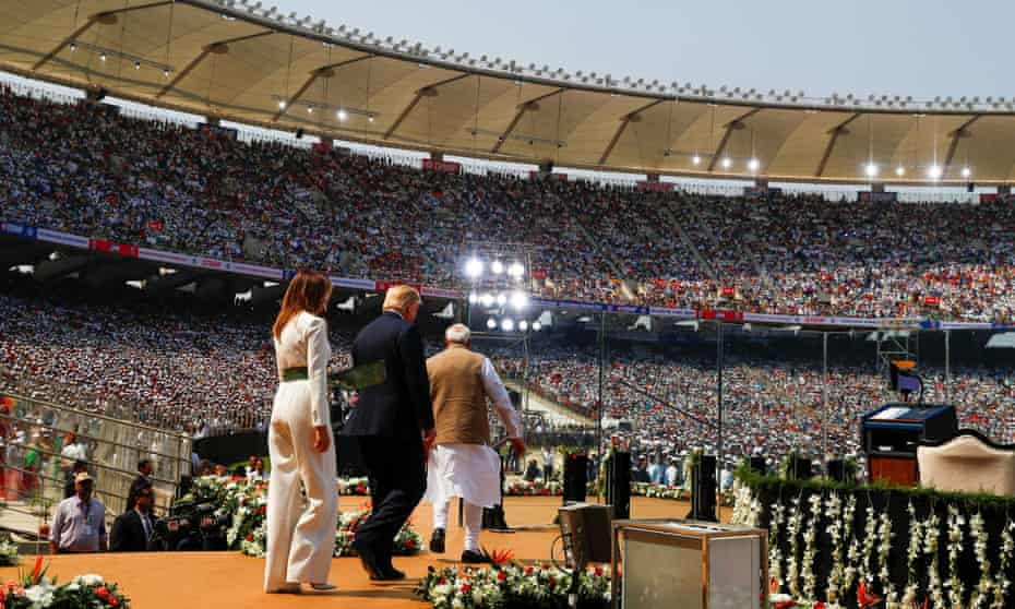 US president, Donald Trump, first lady, Melania Trump, and Indian prime minister, Narendra Modi, at Sardar Patel Gujarat Stadium, in Ahmedabad.