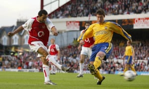 Pennant scores his first goal for Arsenal before going on to complete a hat-trick in a 6-1 win over Southampton in May 2003, the first game of the Gunners' record 49-match unbeaten league run.