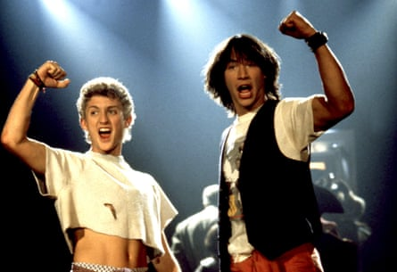 Alex Winter wearing a crop top in Billy & Ted's Excellent Adventure.