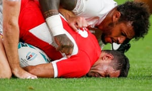 Courtney Lawes, seen here against Tonga, will not shirk from hitting opponents hard.