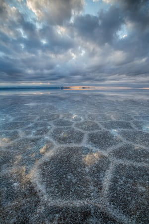 In dry season the salt flats are completely covered in salt, and in the wet season they are covered with a thin sheet of water