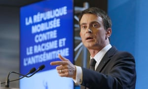The French prime minister, Manuel Valls, launches the government's anti-racism plan in the south-east Paris suburb of Créteil.