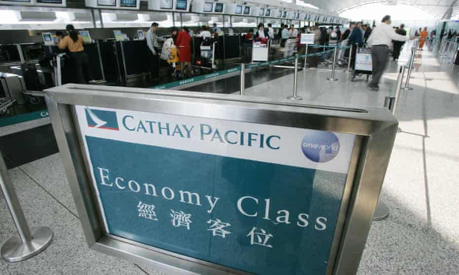 A Cathay Pacific ticket area at an airport
