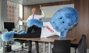 Stef Blok with the blue Brexit monster