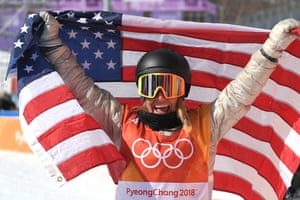 Gold medallist US Jamie Anderson celebrating after the women's snowboard slopestyle final event at the 2018 Winter Olympic Games.