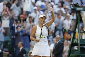 Wozniacki celebrates beating Babos 6-4, 4-6, 6-1.