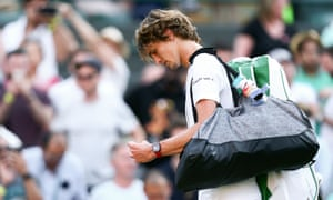 Alexander Zverev heads back to the locker room after becoming the latest Wimbledon seed to exit in the first week.