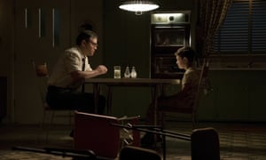 """This image released by Paramount Pictures shows Matt Damon, left, and Noah Jupe in a scene from """"Suburbicon."""" ( Hilary Bronwyn Gayle/Paramount Pictures via AP)"""