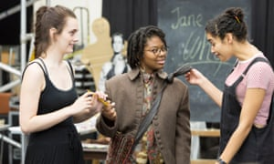 Sister act … from left: Rachel Partington as Mary Bennet, Bethan Mary-James as Elizabeth Bennet, Olivia Onyehara as Lydia in rehearsal for Pride and Prejudice. Photograph: Stephen Cummiskey
