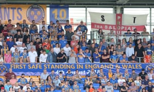 Shrewsbury Town fans in the new safe-standing area at the League One club's ground.