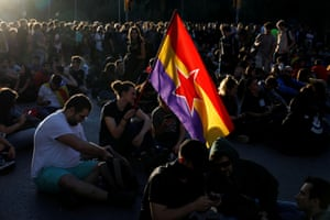 Barcelona, SpainA separatist demonstrator holds a Spanish Republican flag during a protest after a verdict in a trial over a banned independence referendum