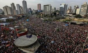 Aerial view of a demonstration against presidential candidate Jair Bolsonaro.