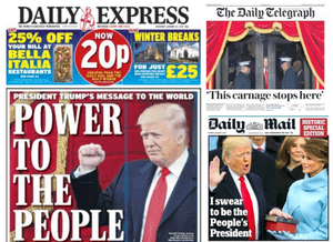 Trump wins UK front page coverage.