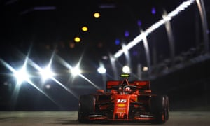 Ferrari's Charles Leclerc en route to claiming pole at the Singapore F1 Grand Prix on the Marina Bay street circuit