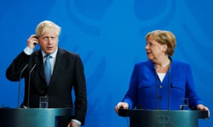Angela Merkel at her press conference with Boris Johnson.