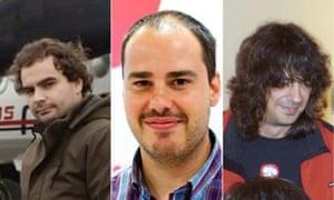 Spanish reporters turned hostages: Ángel Sastre, Antonio Pampliega and José Manuel López.