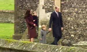 Prince William attends church service with Duchess of Cambridge and their two children.