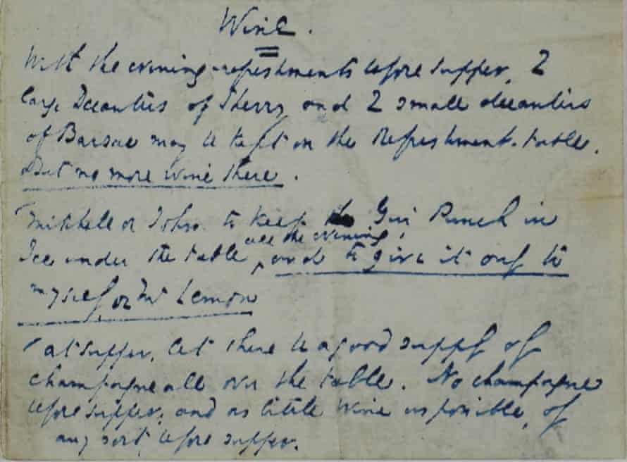 Dickens's note to his butler