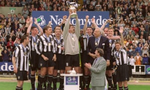 Ian Hendon, third from left as Notts County celebrate winning the third division title, says of Sam Allardyce: 'His organisation was an eye-opener.'