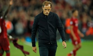 Thomas Tuchel trudges off at Anfield after watching his PSG side be beaten 3-2 by Liverpool in their Group C Champions League opener.