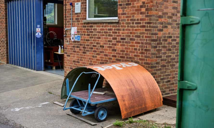 An old piece of fuselage from an Easyjet airplane at Cranfield University.