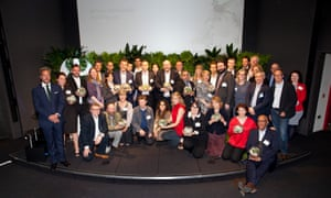 A group shot of all the award winners with host Ben Fogle