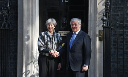 Theresa May greets Antonio Tajani on the steps of 10 Downing Street.