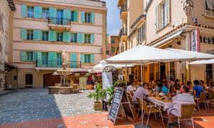 Small restaurant on the street in Monaco-Ville, Monaco.