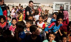 Ewan McGregor visits Debaga IDP camp in northern Iraq in July 2016.