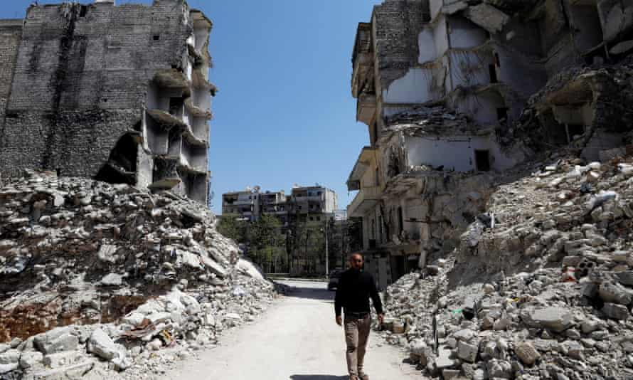 A devastated street in Aleppo.