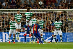 Barcelona's Neymar put his free-kick up and over the Celtic wall and then down into the back of the net.