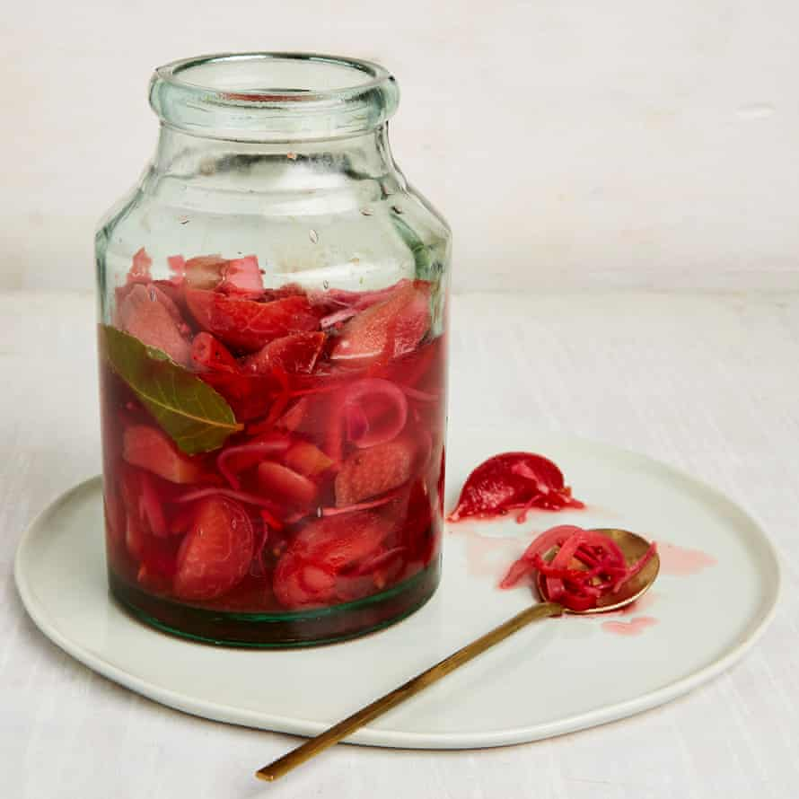 Yotam Ottolenghi's pickled plum, red onion and chilli.