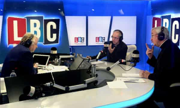 Welby and Nichols speak to listeners during a live phone-in with Ferrari.