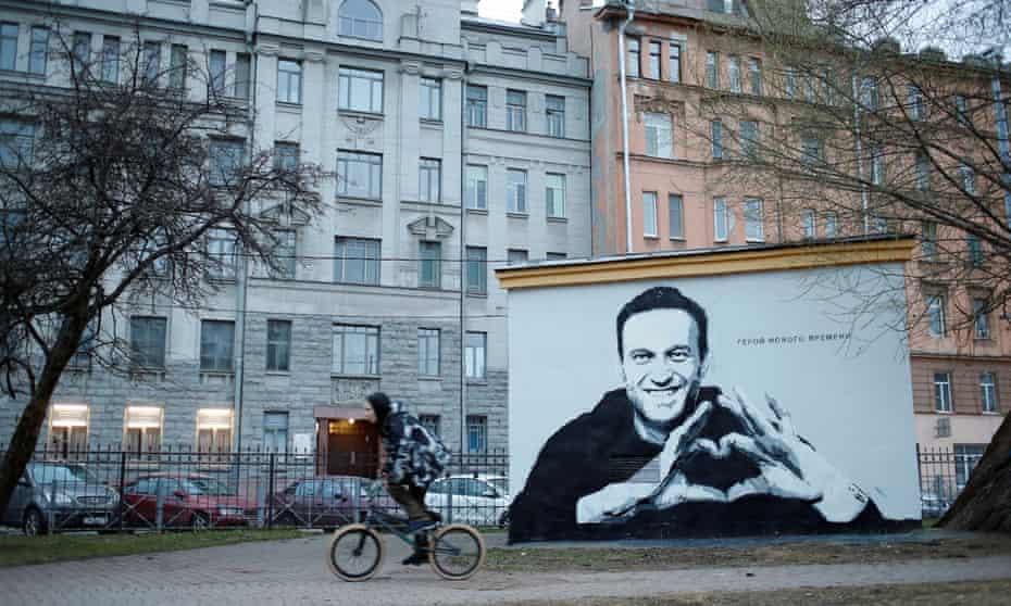 Graffiti depicting Alexei Navalny in St Petersburg