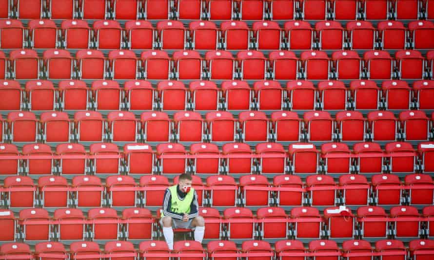 Empty stands at a German Bundesliga match on Sunday.