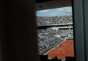 A genral view of the new built Court Philippe Chatrier as Rafael Nadal of Spain serves.