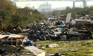 An illegal fly-tipping site alongside the Thames estuary