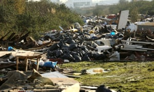 An illegal fly-tipping site near the Thames estuary.