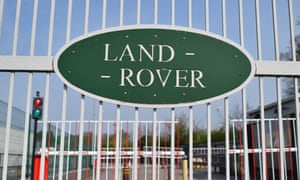 The gates of Jaguar-Land Rover production plant in Solihull, one of the West Midland's key automotive plants closed during the pandemic.