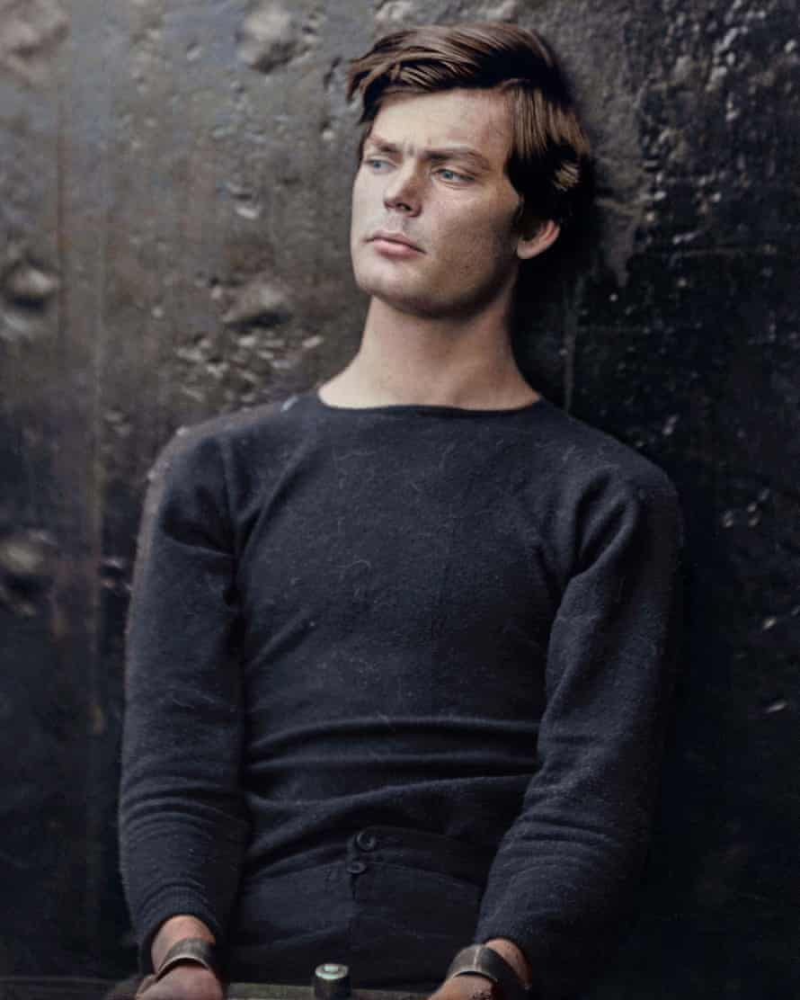American Confederate soldier Lewis Powell: black and white image coloured by artist Marina Amaral