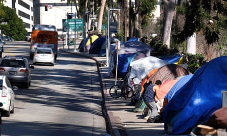 A homeless encampment in downtown Los Angeles