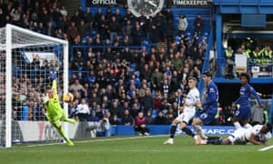 Everton's Jordan Pickford pulls off a fine save against Chelsea.