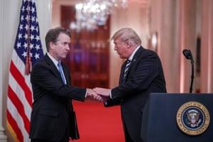 Donald Trump with Brett Kavanaugh last year at Kavanuagh's swearing-in.