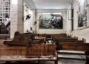 Blood stains pews inside St George's church after a suicide bombing. The Palm Sunday attack in two churches left Egyptian president Abdel-Fattah el-Sissi grappling with the question of how to defeat a tenacious insurgency by Islamic State militants.