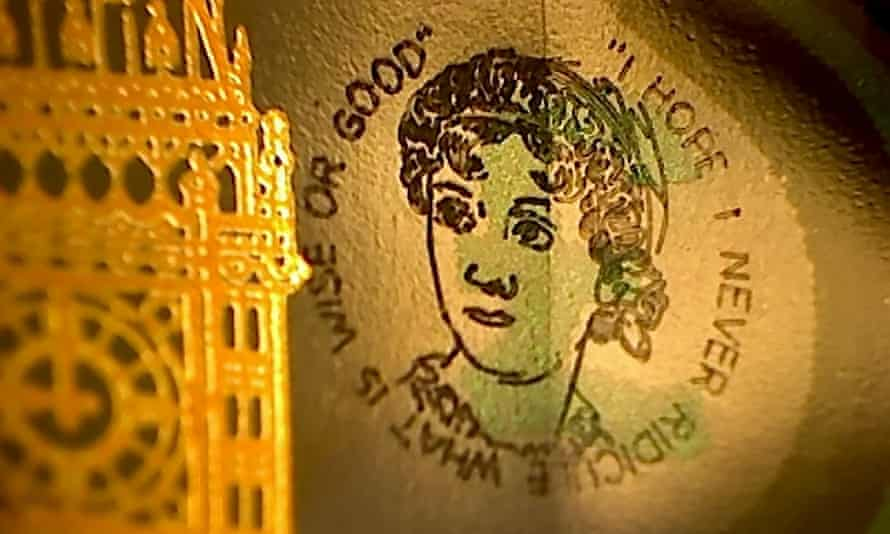 Micro-engraver Graham Short's portrait of Jane Austen appears in the transparent part of just four new £5 notes.