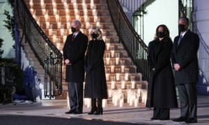 Joe Biden, his wife Jill Biden, Vice-president Kamala Harris and second gentleman Doug Emhoff attend a ceremony at the White House to mark 500,000 US Covid deaths.