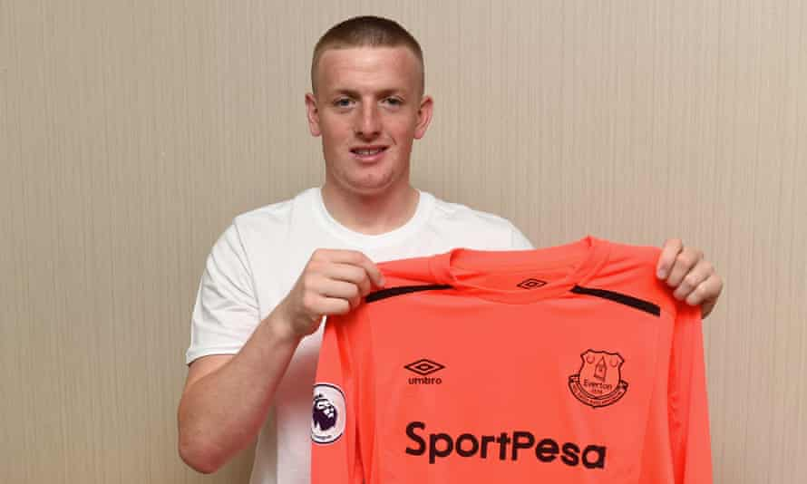 Jordan Pickford is unveiled as an Everton player in Kielce, Poland, where he is preparing for the Under-21 European Championship with England.